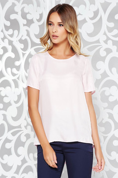Lightpink casual asymmetrical flared women`s blouse soft fabric