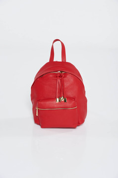 Red casual backpacks natural leather with metal accessories
