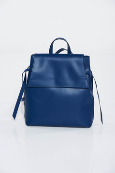 Darkblue casual backpack natural leather