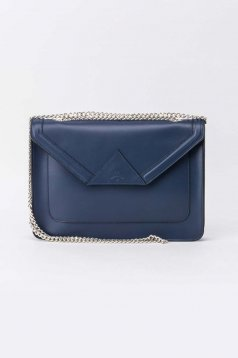 Darkblue casual bag natural leather long chain handle