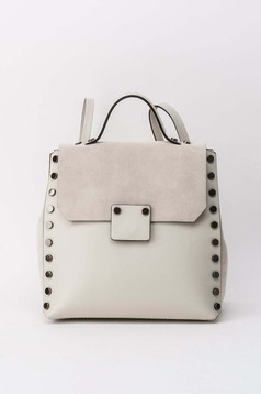 Cream casual backpacks natural leather with metallic spikes