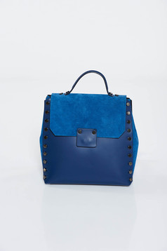 Darkblue casual backpacks natural leather with metallic spikes