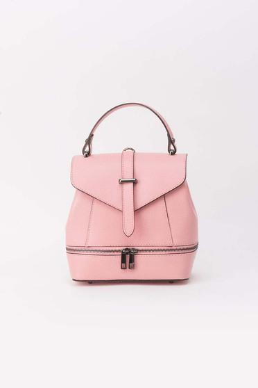 Rosa leather backpacks zipper accessory metallic buckle