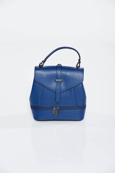 Darkblue leather backpacks zipper accessory metallic buckle