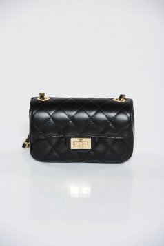 Black casual bag natural leather long chain handle