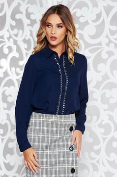 StarShinerS darkblue elegant flared women`s blouse voile fabric metallic details