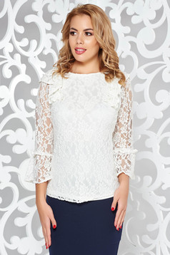 StarShinerS white elegant flared women`s blouse from laced fabric with inside lining with ruffled sleeves