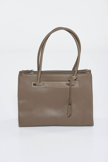 Grey office bag from ecological leather short handles