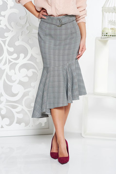 StarShinerS office high waisted asymmetrical skirt from non elastic fabric with chequers black