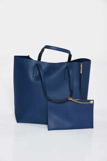 Darkblue from ecological leather bag short handles