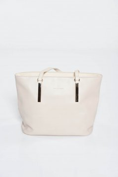 Cream bag office with metal accessories short handles