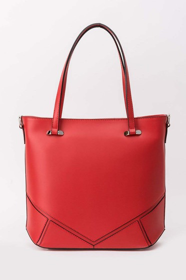 Red office bag short handles natural leather