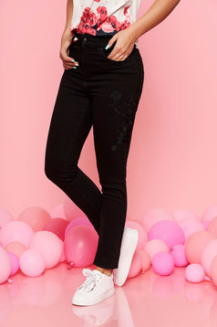 Top Secret black jeans casual cotton with tented cut with pockets with medium waist