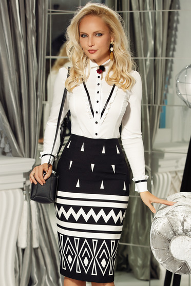 Fofy white office cotton women`s shirt with tented cut accessorized with breastpin