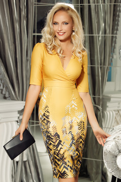 Fofy mustard elegant midi pencil dress slightly elastic fabric with v-neckline