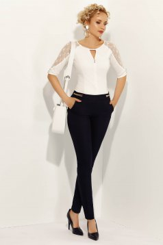 Fofy black office conical trousers slightly elastic cotton with medium waist with pockets
