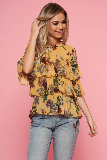 Top Secret yellow casual flared women`s blouse airy fabric with ruffle details with floral prints