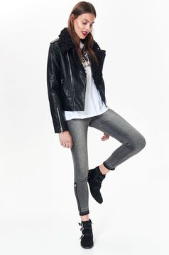 Top Secret black casual jacket from ecological leather fur collar