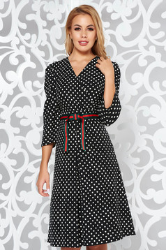 Black elegant cloche dress soft fabric dots print with v-neckline