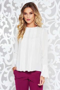 StarShinerS white flared elegant women`s blouse from veil fabric
