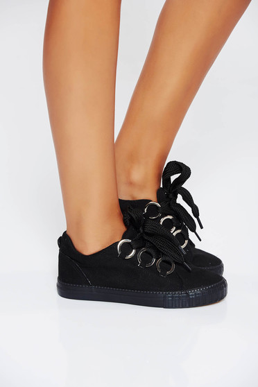 Black casual sneakers low heel from ecological leather