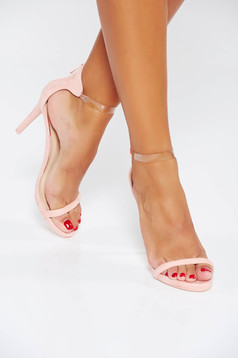 Pink occasional sandals from ecological leather with thin straps