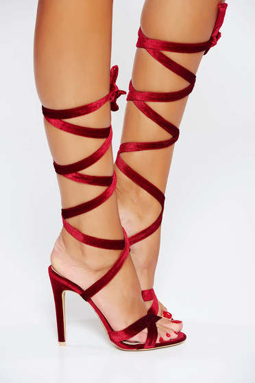 Red occasional sandals with thin straps
