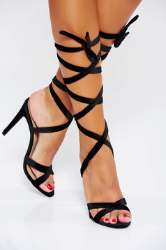 Black occasional sandals with thin straps