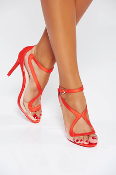 Red occasional sandals with thin straps from ecological leather