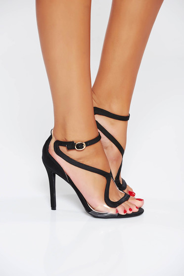 Black occasional sandals with thin straps from ecological leather