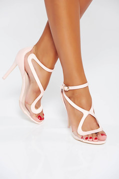 Pink occasional sandals with thin straps from ecological leather