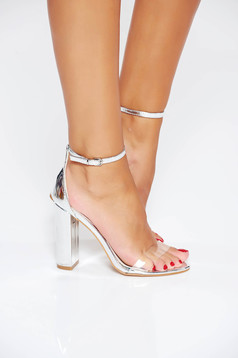 Silver elegant sandals from ecological leather with thin straps chunky heel