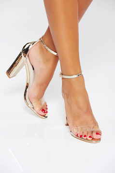 Gold elegant sandals from ecological leather with thin straps chunky heel