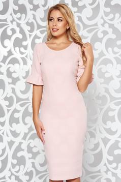 Rosa elegant midi pencil dress slightly elastic fabric short sleeves