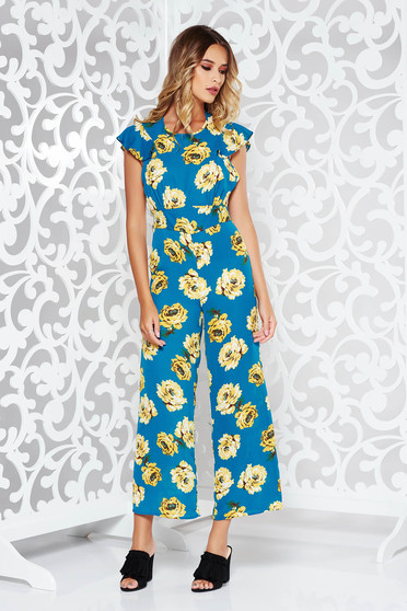 StarShinerS blue long voile fabric jumpsuit with floral prints with cut back