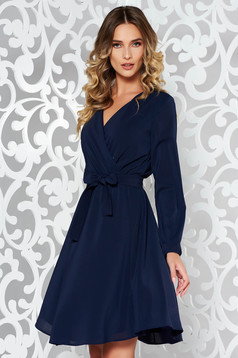 StarShinerS darkblue elegant cloche dress from veil fabric with elastic waist accessorized with tied waistband with inside lining