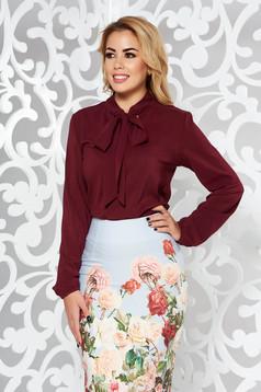 StarShinerS burgundy elegant flared women`s blouse voile fabric