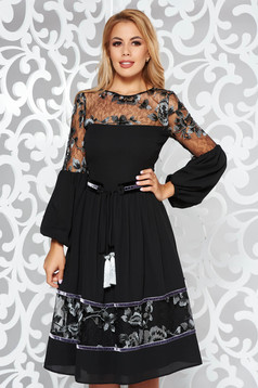 LaDonna black occasional cloche dress from veil fabric accessorized with tied waistband