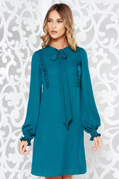 LaDonna green daily a-line dress voile fabric with ruffle details with inside lining