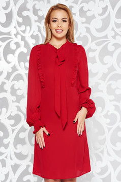 LaDonna red daily a-line dress voile fabric with ruffle details with inside lining