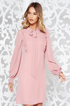 LaDonna rosa daily a-line dress voile fabric with ruffle details with inside lining