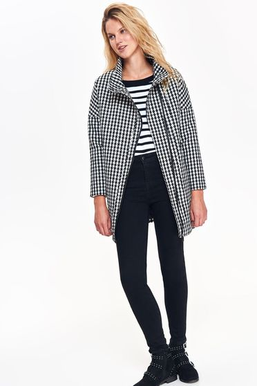 Top Secret grey casual straight coat long sleeved plaid fabric