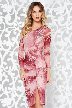 StarShinerS rosa clubbing pencil dress transparent fabric with print details with inside lining