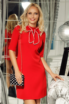 Fofy red elegant a-line dress short sleeve slightly elastic fabric bow accessory