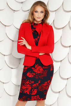 Fofy red office tented jacket long sleeve slightly elastic fabric