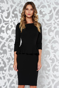 StarShinerS black office midi pencil dress from elastic fabric with frilled waist
