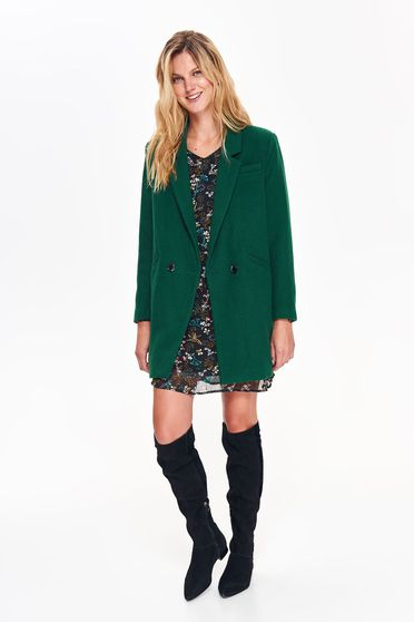 Top Secret green basic coat with straight cut from thick fabric