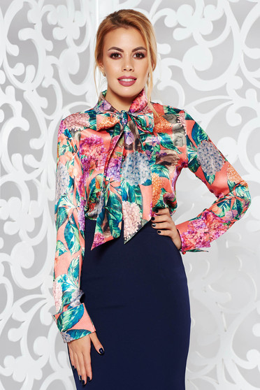 PrettyGirl peach elegant flared women`s shirt long sleeve from satin fabric texture with floral prints