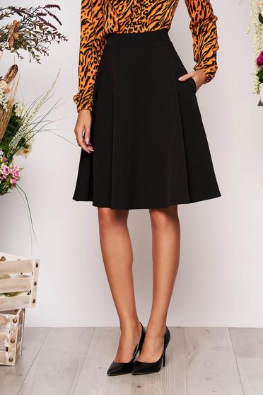 StarShinerS black elegant cloche skirt high waisted slightly elastic fabric