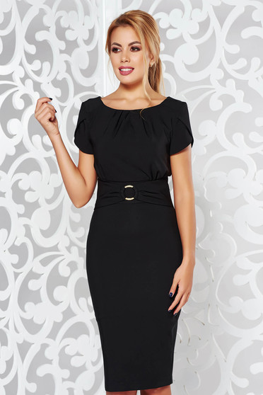 LaDonna black elegant pencil dress slightly elastic fabric with inside lining